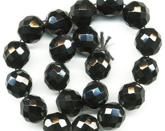 Vintage Black Beads 12mm Faceted Glass Rounds - Austria