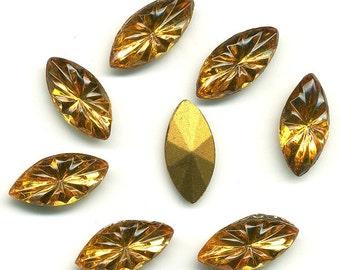 Vintage Glass Stones 15x7 mm Topaz Glass Navette - 8 Pcs Starburst Pattern