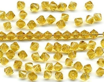 Vintage Topaz Beads 5mm Glass Bicones Spacers 72 Pcs.