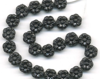Vintage Black Flower Beads 8mm Glass 25+ Pcs Made Western Germany