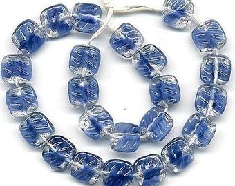 Vintage Blue Givre Beads 9mm Textured Glass 25 Pcs.