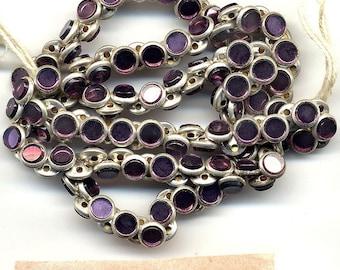 Vintage Rose Montee Beads 5mm Purple Glass Sew On 24 Pcs