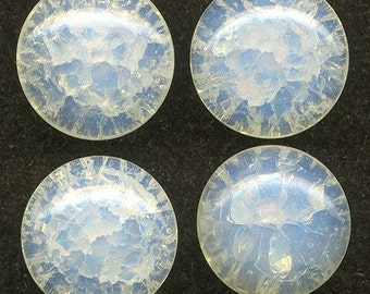 Vintage Buttons or Beads 16mm Opalescent Crackle Glass Western Germany