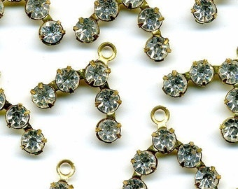 Vintage Crystal Rhinestone & Gold Color Metal Beads Drops or Pendants