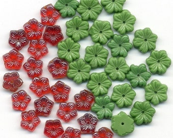Vintage Flower Beads Red & Green Glass Mix 40 Pcs. w/ Center Holes
