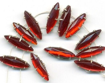 Vintage Ruby Red Rose Montee Beads 16x6mm Glass Navette Sew Ons