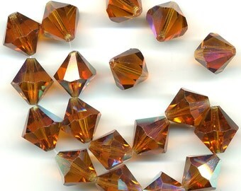 Vintage Crystal Beads 14mm Madeira Topaz AB Bicones 18 Beads DESTASH