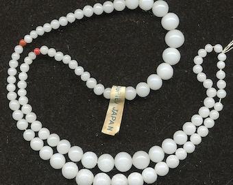 Vintage Graduated Beads - Alabaster White - 3 Bracelet Strands - Occupied Japan