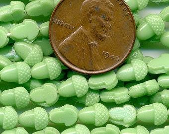 Vintage Green Acorn Nailhead Beads - 36 Pcs. - 6mm