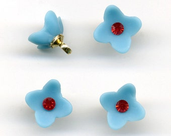 Vintage Blue Flower Button Beads with Red Crystal Centers - Matte Finish