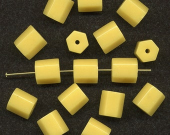 Vintage Yellow Beads 11mm Hex Shape Opaque Glass 16 Pcs.