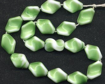 Vintage Green & White Glass Beads 15mm Twists - W.G.