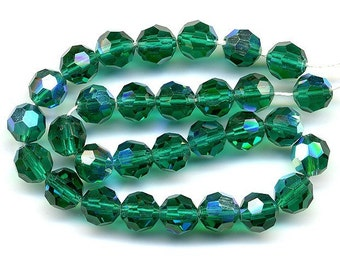 Vintage Crystal Beads 6mm Emerald Green AB 30 Pcs