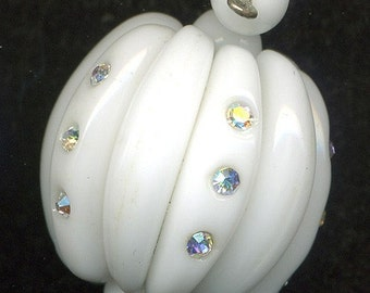 Vintage Rhinestone Bead 22mm White Glass & Crystal AB Unique Hand Construction