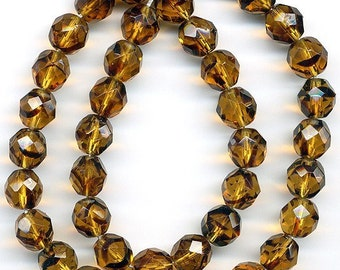Vintage Tortoise Shell Glass Beads 8mm Faceted Translucent Rounds 25 Pcs.
