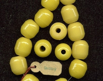 Vintage Yellow Beads 14mm Large Holes Unusual Old German Glass