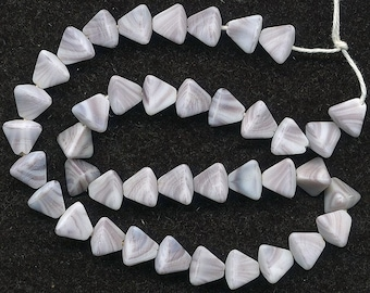 Vintage Lavender and White Matte Finish Pyramid Shaped Beads - Western Germany