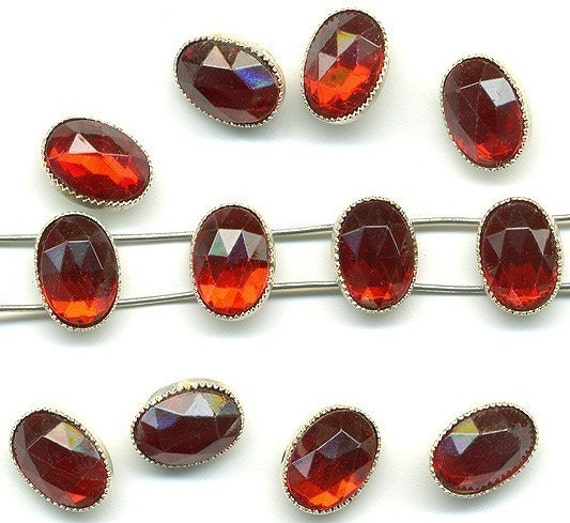Vintage Red Rose Montee Beads - 8x6mm Ruby Glass - 2 Hole Sew On Beads - 12 Pcs