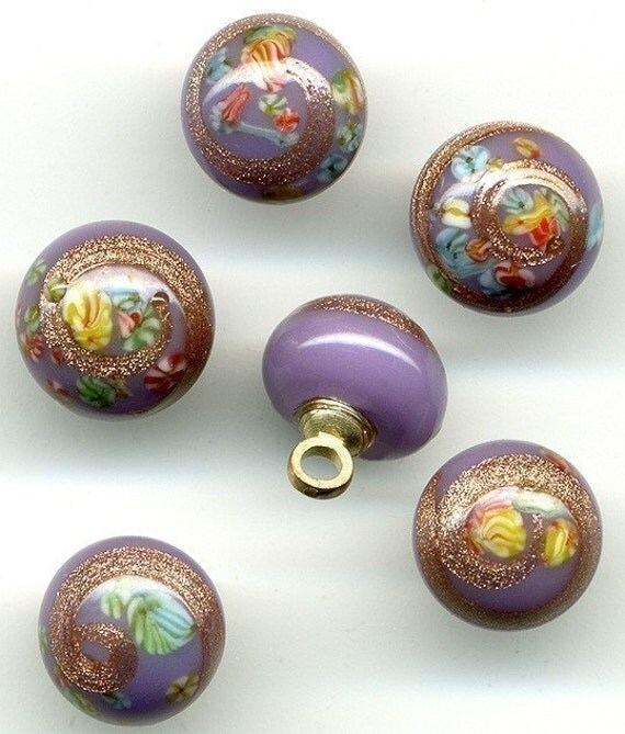 Vintage Lavender Millefiore Glass Beads or Buttons with Aventurine Swirls from Japan - 8mm