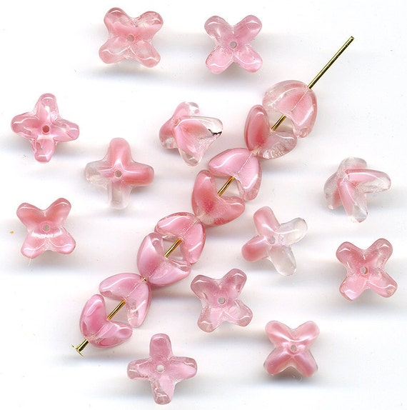 Vintage Pink Beads Rose Givre Flower or Bead Cap Shape