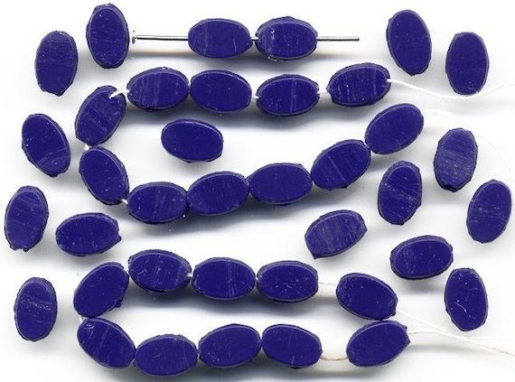 Vintage Dk Blue Nailhead Beads 9 x 6mm Flat Oblong 1920s Czech