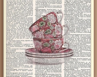 Stacked Red Tea Cups Vintage Dictionary Art Print---Fits 8x10 Mat or Frame