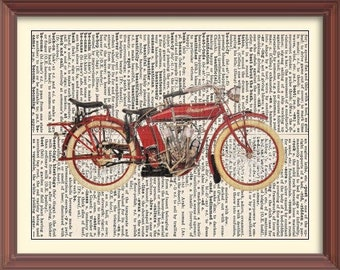 VINTAGE 1914 INDIAN TWIN -Vintage Dictionary Art Print---Fits 8x10 Mat or Frame
