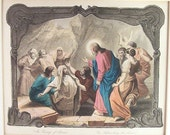 The Raising of Lazarus Steel Engraving 1800s A H Payne 1800s