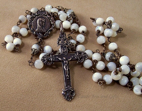 Rosary Mother of Sorrows Dolorosa White MOP Bronze Necklace Handcrafted