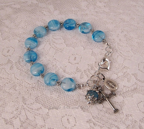 Miraculous Medal Rosary Bracelet Blue
