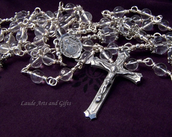 Sacred Heart Rosary Wedding Rock Crystal Pewter Unbreakable