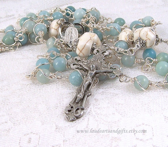 Miraculous Medal Rosary Pewter Blue Amazonite Unbreakable Wire Wrapped
