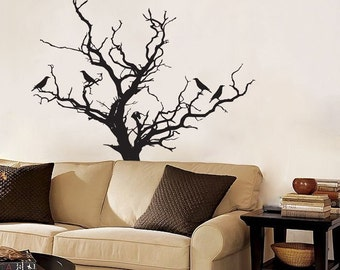 Stark Tree with Birds Decal -  Wall Decals - Your Choice of Color