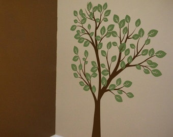 Tall Tree Waving in the Wind - 7 feet tall - Two Color - Vinyl Wall Decals - Your choice of TWO colors