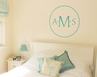 Elegant Dots - Three Letter Monogram - Wall Decals - Your Choice of Color and Letters