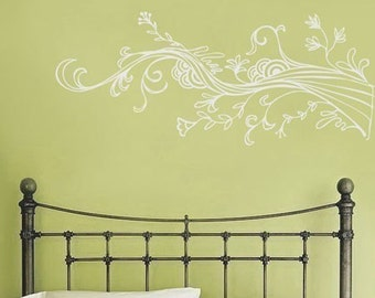 Swirling Wispy Tree Branch with Flowers - Wall Decals - Your Choice of Color