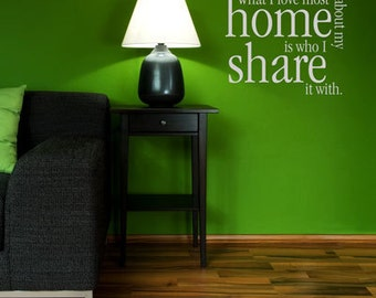 What I Love Most About My Home - Quote - Wall Decals - Your Choice of Color