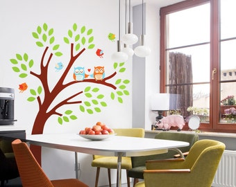 Happy Owls & Birds in a Colorful Tree - Full Color - Printed Wall Decals - Your Choice of Color Combination