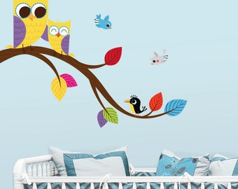 Cute Mom and Baby Owls on a Branch - Full Color - Printed Wall Decals