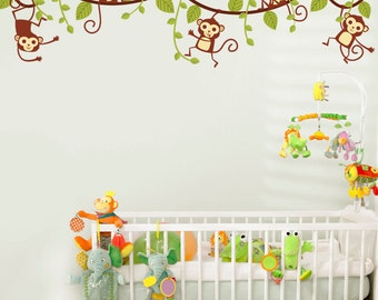 Monkeys Swinging on Vines - Set of 5 - Full Color - Printed Wall Decals