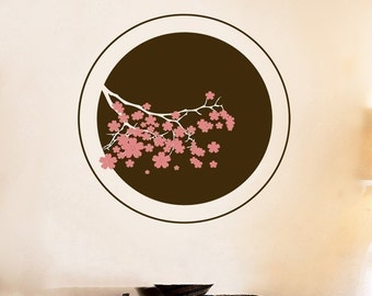 Circle of Cherry Blossoms - Two Color - Wall Decals - Your Choice of Color -