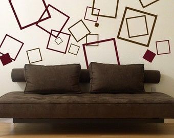 Set of 60 Squares - Wall Decals - Your Choice of Two Colors