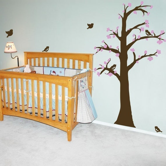 Waving Tree with Leaves and Blossoms - Wall Decals - Your choice of TWO colors