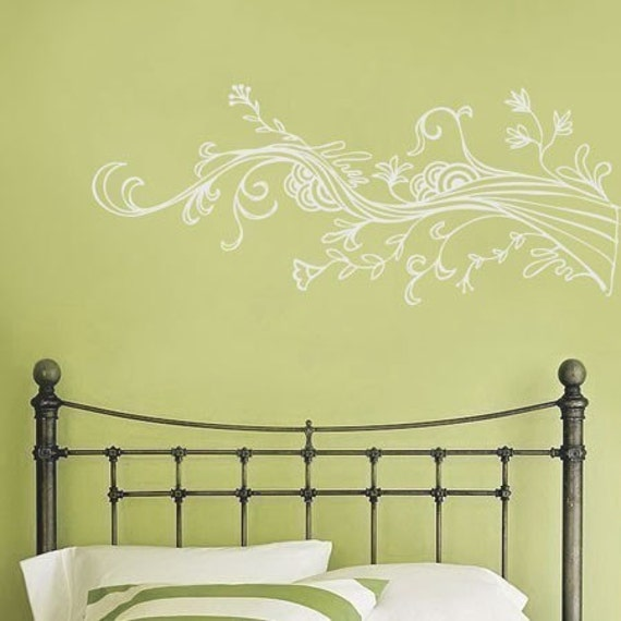 Swirling Wispy Tree Branch with Flowers - Wall Decals - Your Choice of Color -