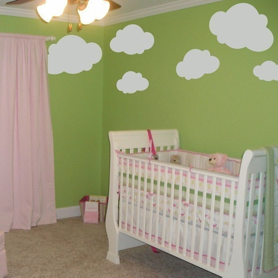 BIG Fluffy Clouds - Cloud Decals - Set of Six - Wall Decals - Your Choice of Color