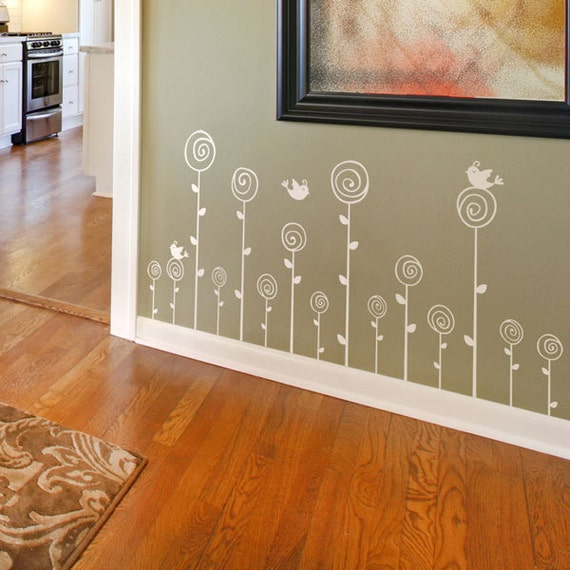 Swirling Poppies Set of FIFTEEN - with a little Bird - Wall Decals - Your Choice of Color