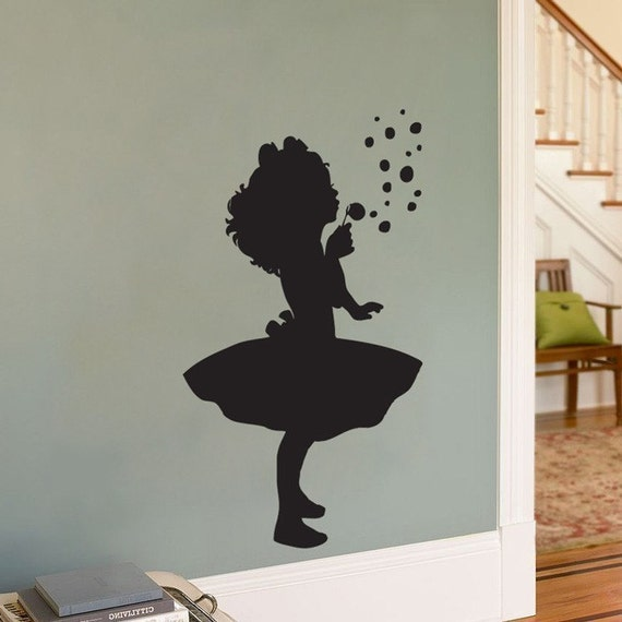 Little Girl Blowing Bubbles - Silhouette - Wall Decal - Your Choice of Color