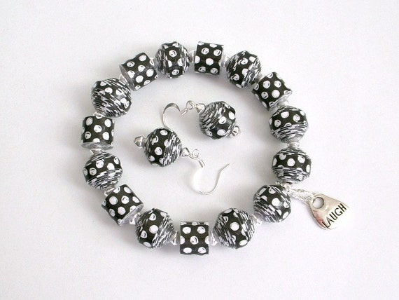 Black and White Polka Dot PAPER BEAD Bracelet and Dangle Earrings Set - custom sizing, shipping included