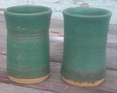 Pair of ceramic tumbler cups handmade pottery