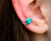 Turquoise Silver Ear Cuff Wire Wrapped